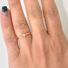 14K Gold Diamond Solitaire Starburst Ring