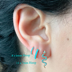 14K Gold Turquoise Cabochon Thick Huggie Hoop Earrings (11mm x 6mm) ~ In Stock!