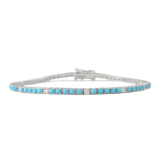 14K Gold Turquoise & Diamond Tennis Bracelet ~ In Stock!