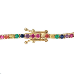 14K Gold Rainbow Gemstone Tennis Bracelet