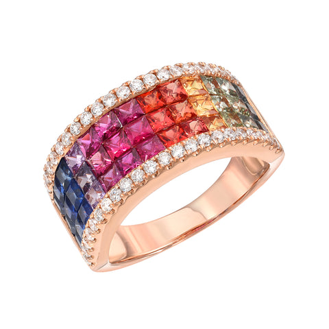 18K Gold Pavé Diamond & Rainbow Princess Cut Half Eternity Band
