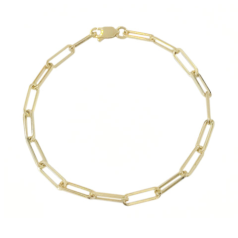 14K Gold Elongated Oval Link Bracelet