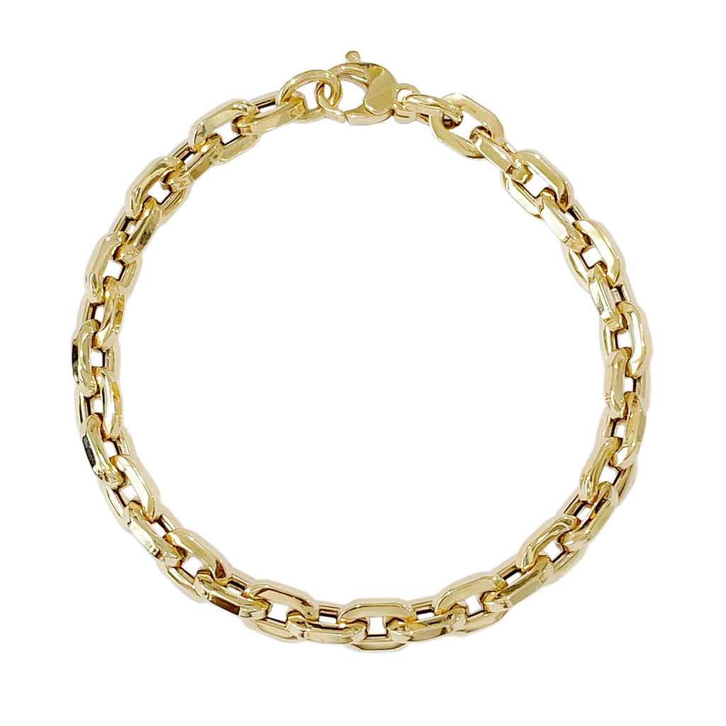 14K Gold Thick Flat Oval Link Bracelet, Small Size Links ~ In Stock!