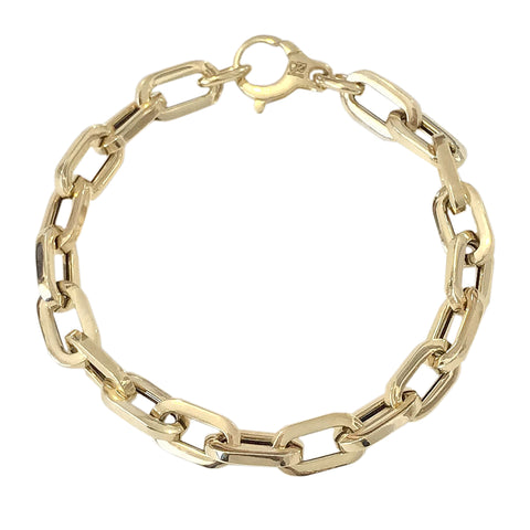 14K Gold Thick Flat Oval Link Bracelet, Large Size Links ~ In Stock!