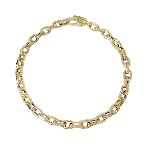 14K Gold Thick Flat Oval Rolo Link Bracelet, Small Size Links ~ In Stock!