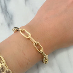 14K Gold Thick Oval Link Bracelet ~ Large Links