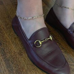 14K Gold Thick Oval Link Ankle Bracelet