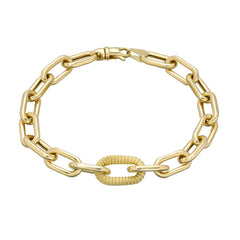 14K Gold Rope Detail Thick Oval Link Bracelet ~ LIMITED EDITION