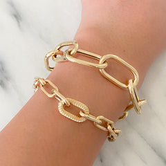 14K Gold Thick Oval Link Bracelet, XXL Links ~ In Stock!