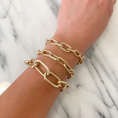 14K Gold Rope Detail Thick Oval Link Bracelet, LIMITED EDITION ~ In Stock!