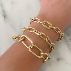 14K Gold Thick Oval Link Bracelet ~ XXL Links