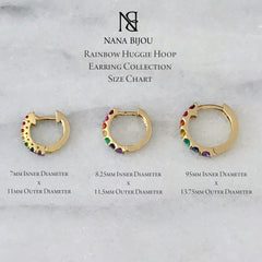 14K Gold & Rainbow Gemstone Thick Huggie Hoop Earrings (11.5mm x 8.25mm)