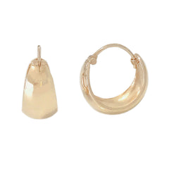 14K Gold Thick Crescent Huggie Hoop Earrings