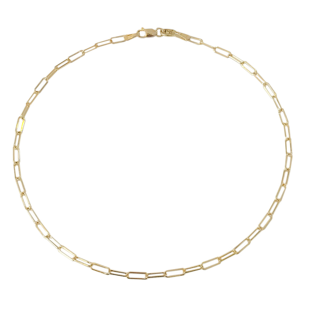 14K Gold Thin Elongated Oval Link Ankle Bracelet, Small Size Links