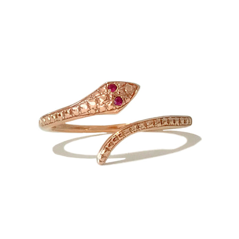 14K Gold Thin Snake Wrap Bypass Ring with Ruby Eyes