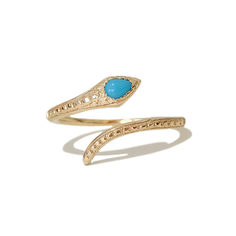 14K Gold Thin Snake Wrap Bypass Ring with Turquoise Cobra Head