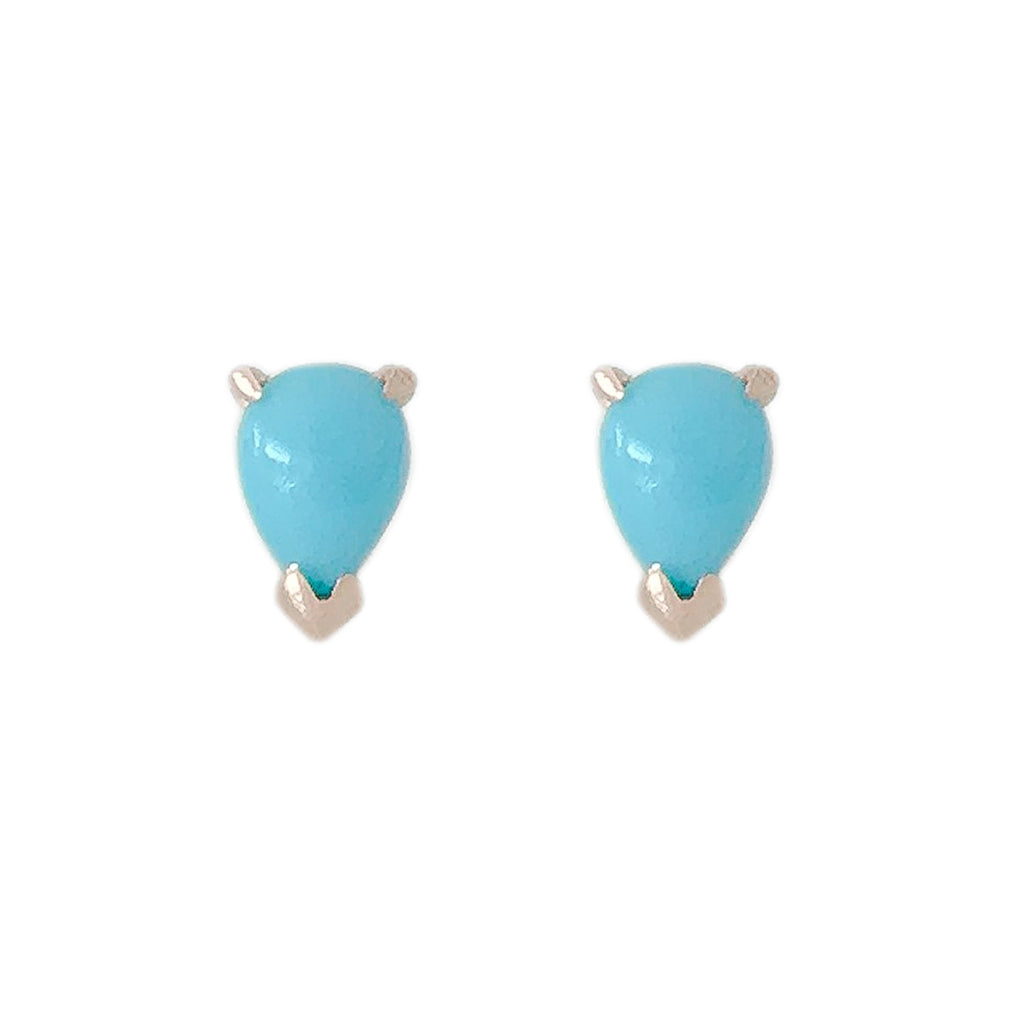 14K Gold Solitaire Pear Shape Turquoise Cabochon Stud Earrings