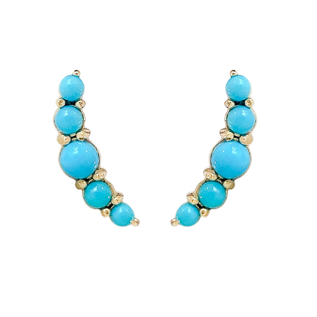 14K Gold Turquoise Crescent Climber Stud Earrings