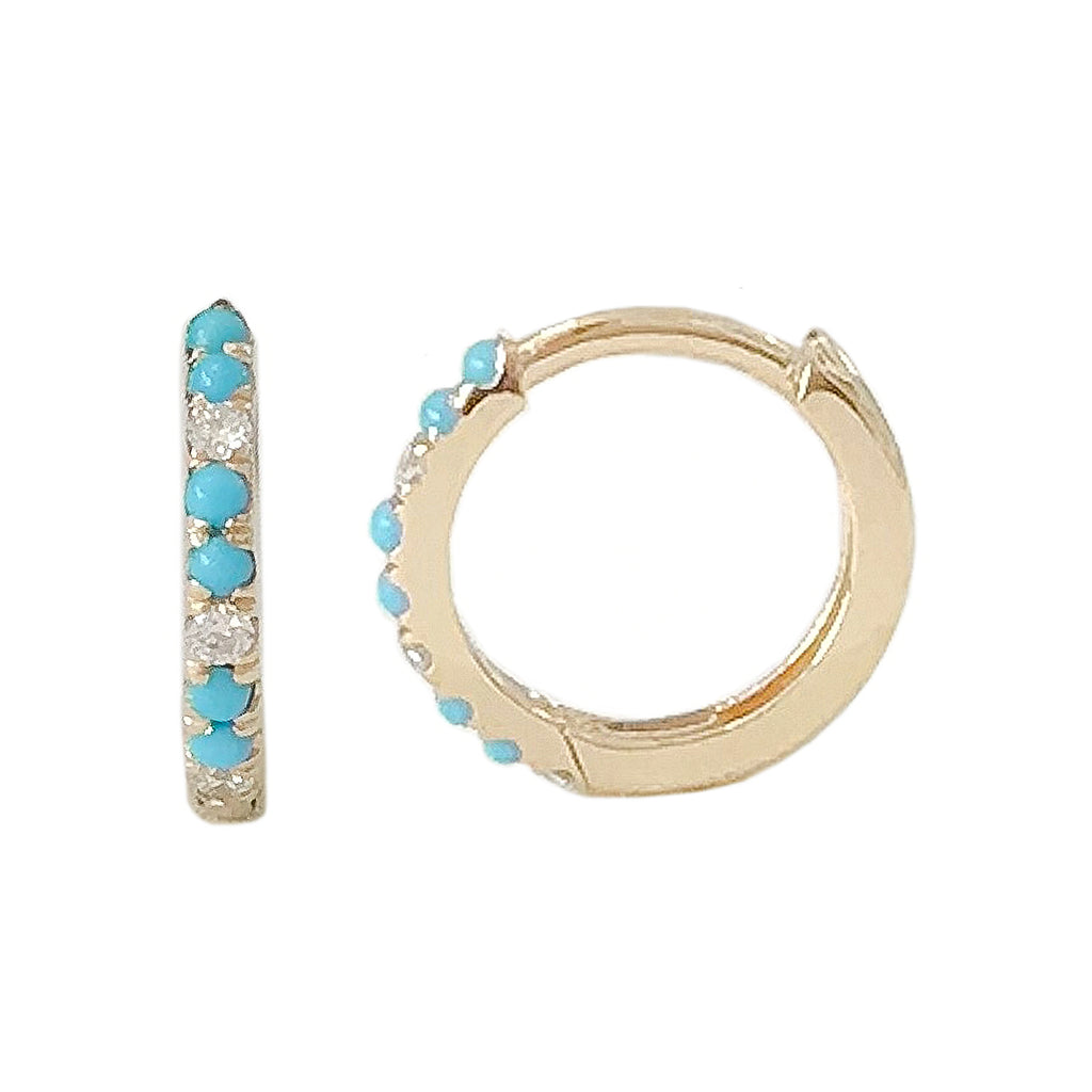 14K Gold Pavé Diamond & Turquoise Medium Huggie Hoop Earrings ~ ALL SIZES