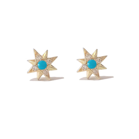 14K Gold Turquoise & Pavé Diamond Starburst Stud Earrings
