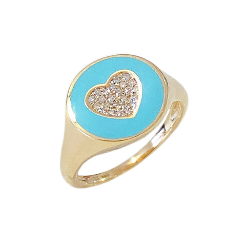 14K Gold Set Pavé Diamond Heart & Turquoise Enamel Signet Ring ~ LIMITED EDITION