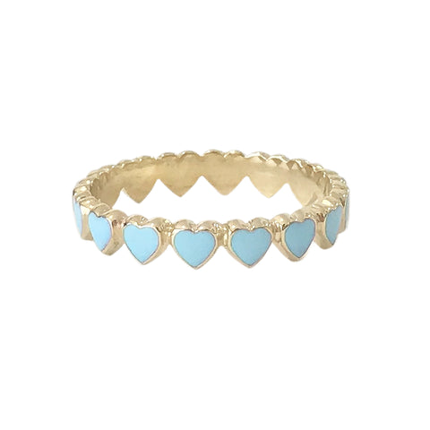 14K Gold Pastel Blue Enamel Eternal Heart Ring