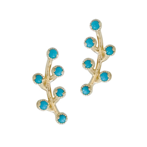 14K Gold & Turquoise Cabochon Floral Climber Earrings