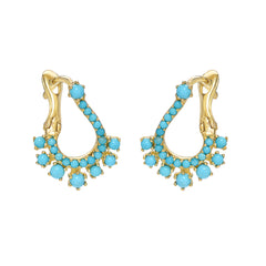 14K Gold Pavé Turquoise Front to Back Illusion Huggie Hoop Earrings