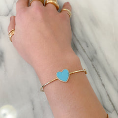 14K Gold Diamond & Turquoise Inlay Heart Bangle Cuff Bracelet ~ LIMITED EDITION