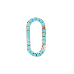 14K Gold Turquoise Elongated Oval Charm Enhancer, Large Size ~ In Stock!
