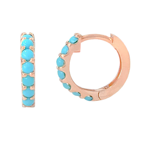 14K Gold Turquoise Gemstone Thick Huggie Hoop Earrings (13.75mm x 9.5mm)