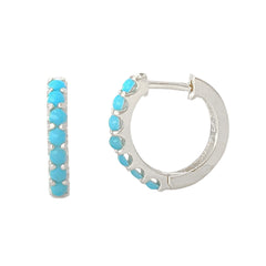 14K Gold & Turquoise Cabochon Thick Huggie Hoop Earrings (11.5mm x 8.25mm)