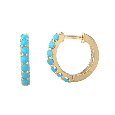 14K Gold Turquoise Cabochon Thick Huggie Hoop Earrings (11.5mm x 8.25mm)