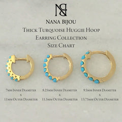 14K Gold Turquoise Cabochon Thick Huggie Hoop Earrings (11.5mm x 8.25mm) ~ In Stock!