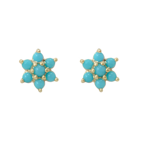 14K Gold & Turquoise Rosebud Flower Stud Earrings