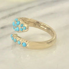 14K Gold Turquoise Snake Wrap Bypass Ring