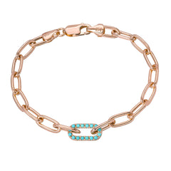 14K Gold Turquoise Thick Oval Link Bracelet