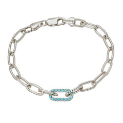 14K Gold Turquoise Thick Oval Link Bracelet ~ In Stock!