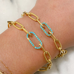 14K Gold Turquoise Elongated Oval Charm Enhancer ~ Large Size