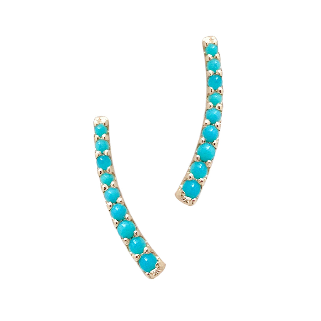 14K Gold & Turquoise Climber Arch Earrings