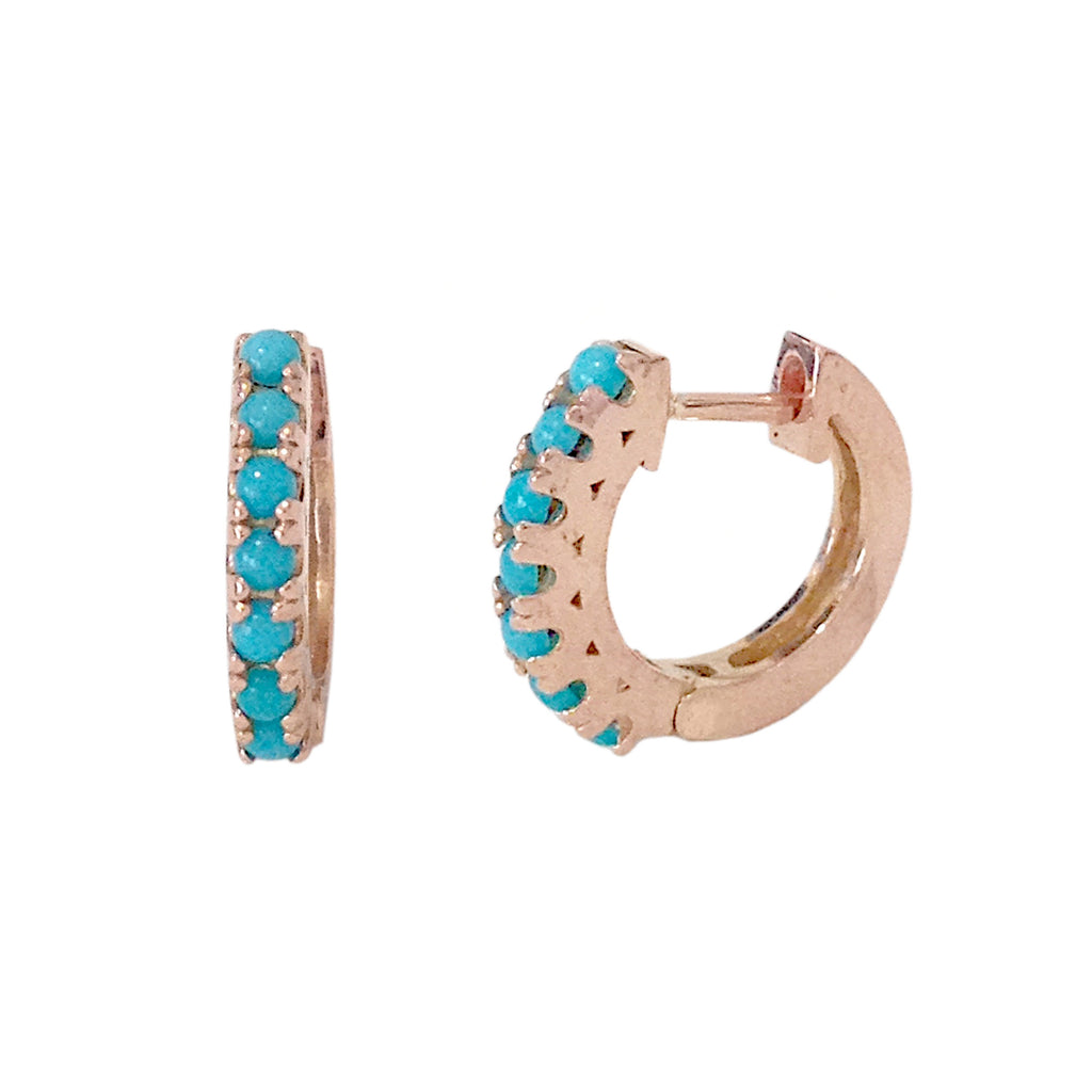 14K Gold & Turquoise Cabochon Medium Size (11mm) Thick Huggie Hoop Earrings