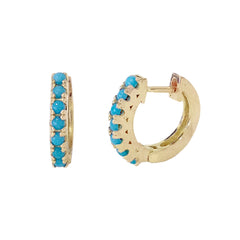 14K Gold & Turquoise Cabochon Thick Huggie Hoop Earrings (11mm x 6mm)