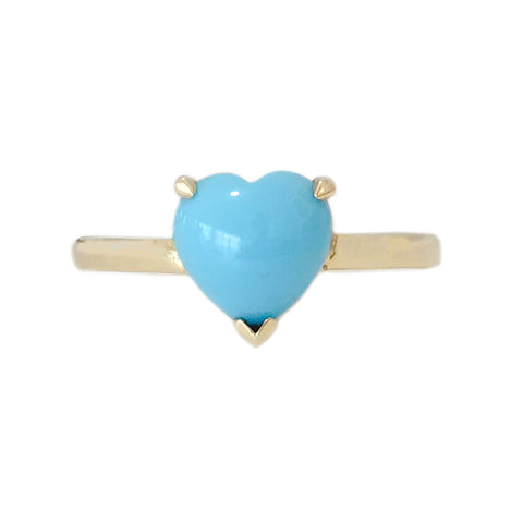 14K Gold Turquoise Heart Solitaire Ring