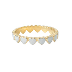 14K Gold White Enamel Eternal Heart Ring