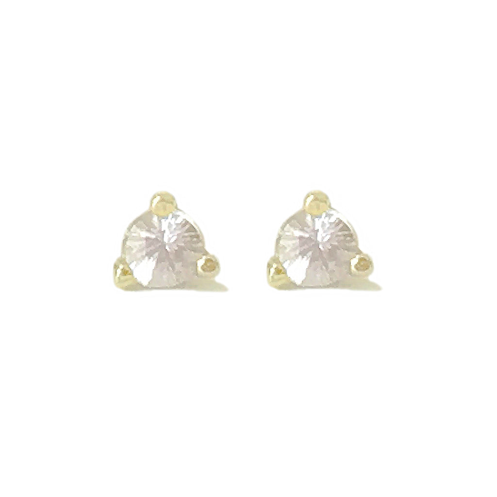 14K Gold Solitaire 3mm White Sapphire Martini Stud Earrings