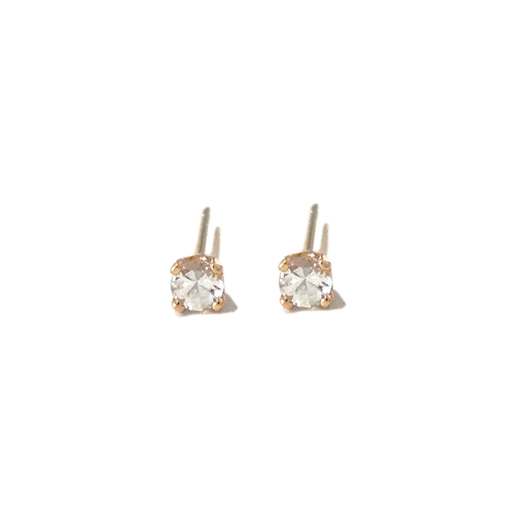 14K Gold 2mm Solitaire XS White Sapphire 4 Prong Stud Earrings
