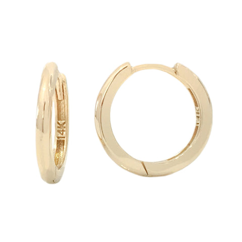14K Gold XL Size (15mm) Huggie Hoop Earrings