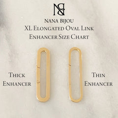 14K Gold Thick Elongated Oval Charm Enhancer ~ XL Size