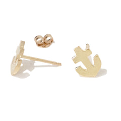 14K Gold XSmall Anchor Stud Earrings