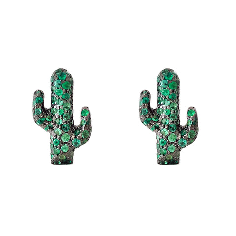 14K Gold & Pavé Emerald XS Cactus Stud Earrings